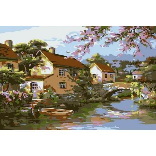 Село край реката - (20х30см)